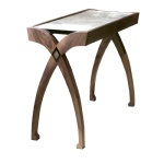 LFST-004 Walnut wood and Marble Side table