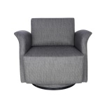 LFDA-001 Swiviel Lounge Chair in Dark Gray Fabric Upholstered