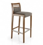 LFB-013 Counter Bar Stool by Beech wood legs Fabric upholstered cushion