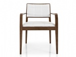 LFW-013 Armrests Dining Chairs of Beech wood with Fabric Cushion