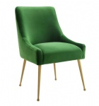LFU-010 Velvet Fabric cushion side Chairs by Brass stainless legs