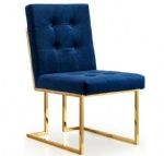 LFU-011 Navy Fabric Cushion Chairs with Rich Gold Stainless steel legs