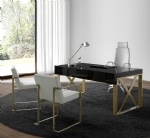 Modern Glossy painting Writing desk table with High end Leather Brushed Gold Armchair
