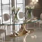 Designer Custom Furniture Gold Mirror Stainless Dining Table by Oval Tempered Glass