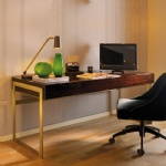 Beautifully finished in high gloss Ebony veneer Writing Desk with Stainless steel legs