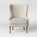 LFDA-007 Highlights Upholstered wing back chair adds comfort cushion used golden wood frame