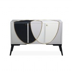 CGF-006 Special design Console cabinet in BlackWhite painting with Wood legs
