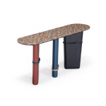CGF-002 Amazing design of Console table by Luxury leather with colorful Marble
