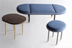 LFFB-007 Fabric Upholstered bench Powder coat steel tubing and plate base with polished solid brass feet