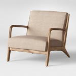 Wood Arm Chairs in Ash solid wood frame by Grey Fabric upholstered cushion for Hotel Chairs furniture