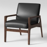 Hotel Lobby Chairs Ash Wood arm with Black faux Leather upholstered pad in Nordic design of Project furniture