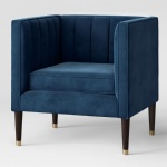 Fabric upholstered Channel tufted chair in Blue color for Hotel lobby furniture reception sofas