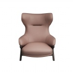 LFDA-013 Leisure chairs furniture high end leather upholstered used curved laminate wood walnut painting